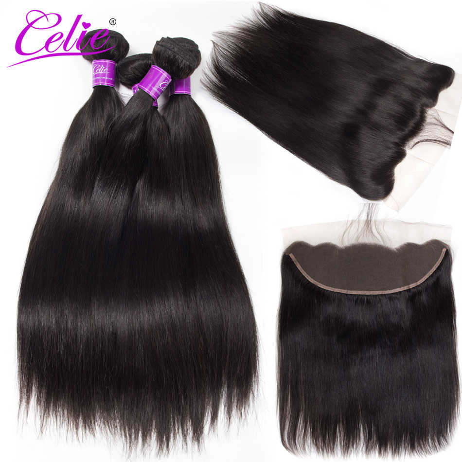 Celie Hair Straight Hair Bundles With Frontal 5pcs Lot Human Hair Bundles With Frontal Straight Brazilian Frontal With Bundles