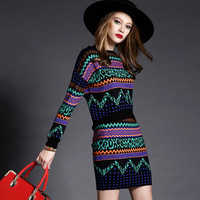 women's suits Winter New Women Geometric Prints Sweater Tops and Skirt Sets Two piece suit Knitting Blouses and Skirt Set