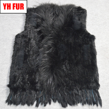 Fur Factory Sale Women Real Rabbit Fur Vest Knit Tassels 100 Real Genuine Rabbit Fur Gilet Real Raccoon Fur Collar Waistcoats cheap Raccoon Dog Fur Double-faced Fur Real Fur YH-FUR-061600 STANDARD REGULAR Knitted With Raccoon Dog Fur Collar Sleeveless