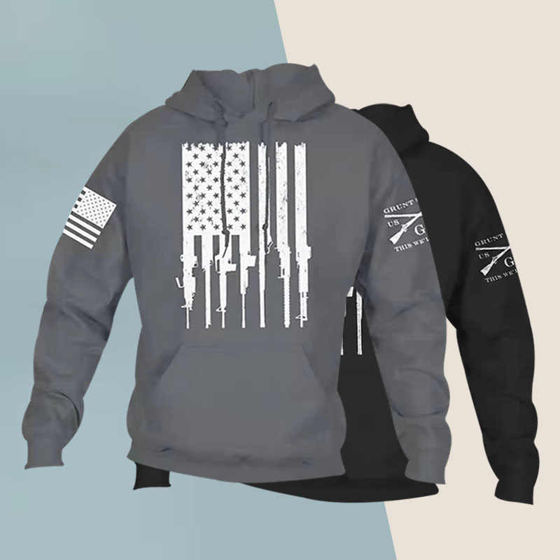 2019 Men Casual Long Sleeve Ammo Flag Patriot Hooded Sweat Hoodies Gym Sports Sweatshirt
