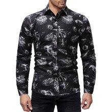 2019 spring new fashion print men shirt long sleeve black good quality mens patterned shirts