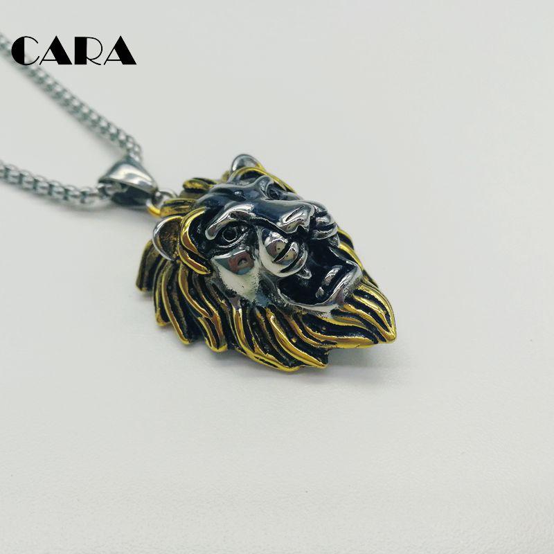 2019 Multi colors 316L stainless steel roaring lion pendant necklace mens cool animal lion head biker necklace jewelry BLKN0292 in Pendant Necklaces from Jewelry Accessories