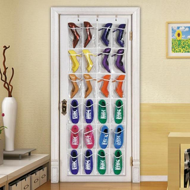 24 pocket over door hanging holder shoe organizer storage rack wall closet bag