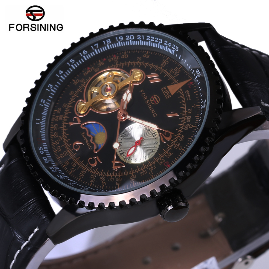 2018 New Fashion Automatic Stylish Classic Black Dial Skeleton Tourbillon Wristwatch Men Male Forsining Brand Mechanical Watch forsining men s watch vogue skeleton mechanical leather analog classic wristwatch color silver fsg8090m3