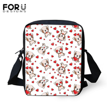 FORUDESIGNS Women Messenger Bags Cartoon Dogs Prints Crossbody Kids Purse Small Coin Kawaii Animal Pattern Mini Flaps