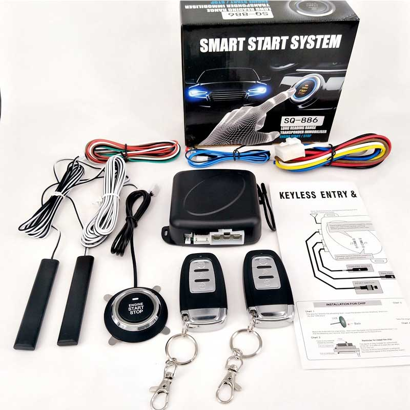 Auto Central Locking Passive Keyless Entry System Engine Push Button Vehicles PKE Start/Stop Lock With 2 Smart Key Remote Start