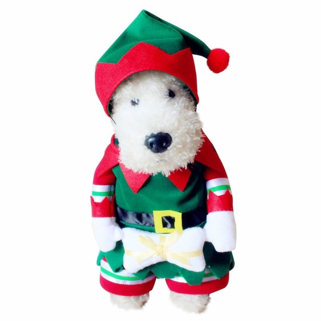 Funny Cosplay Costume Christmas ELF Pets Dog Cat Prince Clothes Set ...