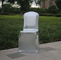 Matellic silver spandex stretch chair cover for wedding party banquet decoration elastic lycra chair cover