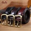 Nuevo desinger de alta calidad correas para los hombres Clásico cobre pin hebilla de cinturón de cuero de vaca 3.8 cm ancho