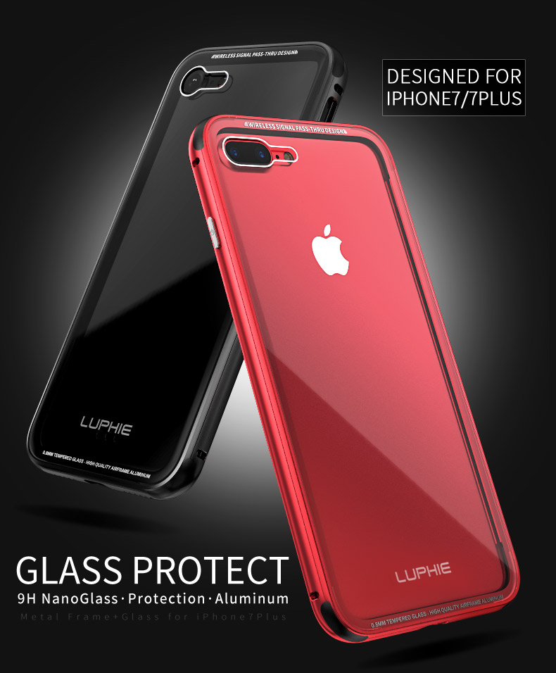 9bf302c36e8 For iphone X iphone 8 8plus case LUPHIE Aluminum Bumper Case For iphone 7 7  Plus Clear tempered glass Back Cover for iphone 6 6S-in Fitted Cases from  ...