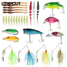 Lixada 28pcs This fishing lure kit Set Crankbaits Popper VIB Soft Baits Spinner Sequin Popper Crank Multi-section Soft Bait(China)