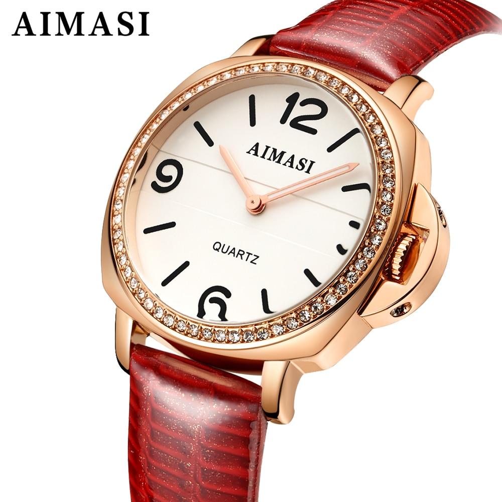 women waterproof watch AIMASI brand fashion leather strap rose gold casual quartz watches ladies diamond clock