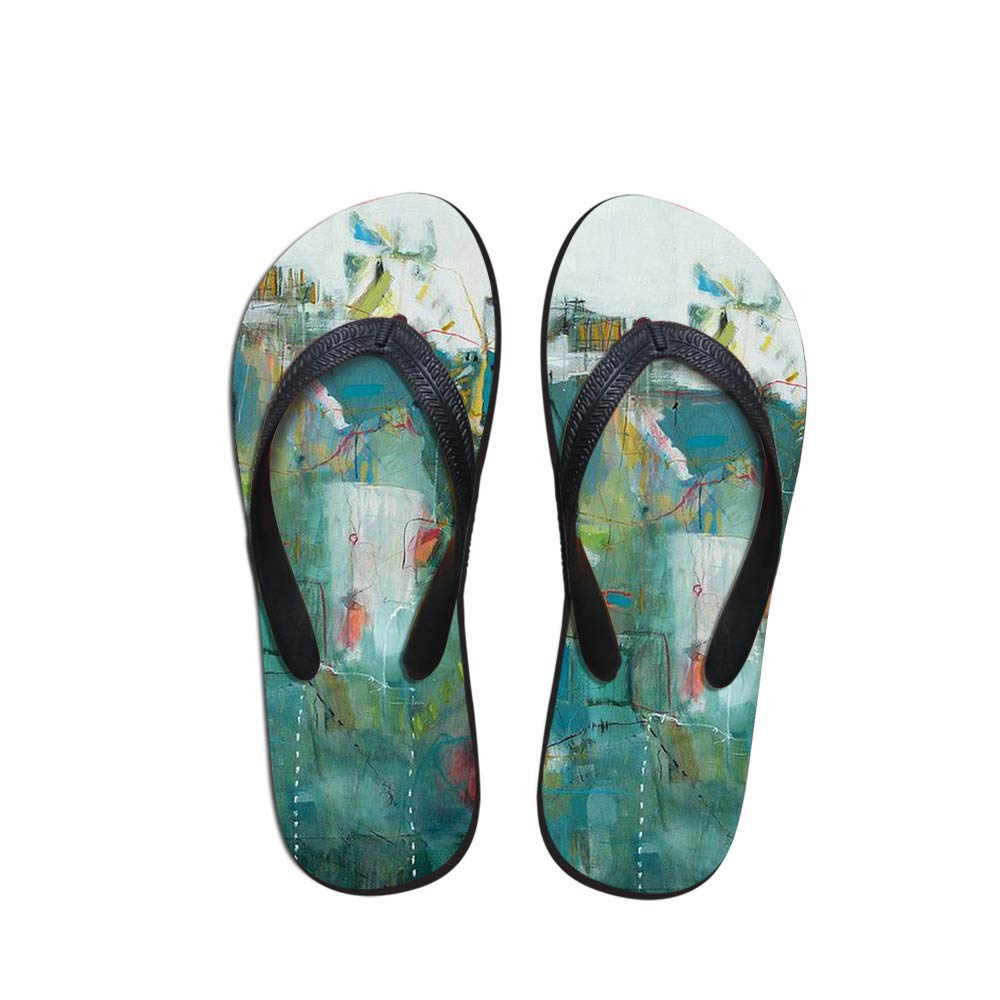 Comfort Men's Flip Flops Beach Shoes Outside Sandals Flops Sandals Man Landscape Painting Summer Simple Design Flop
