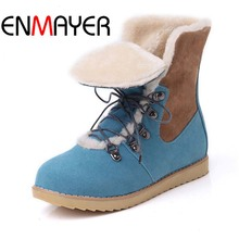 ENMAYER Flats Women Boots Big Size34-43 Mixed Colors Round Toe Winter Snow Boots Flock Lace-Up Flock Ankle Boots For Women Hot