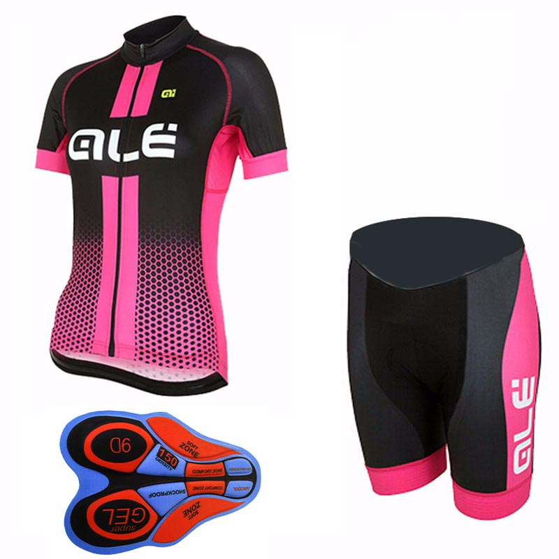 ALE 2017 cycling jersey bike clothes bib shorts set MTB bicycle wear ropa ciclismo high quality summer women bike clothing E0405
