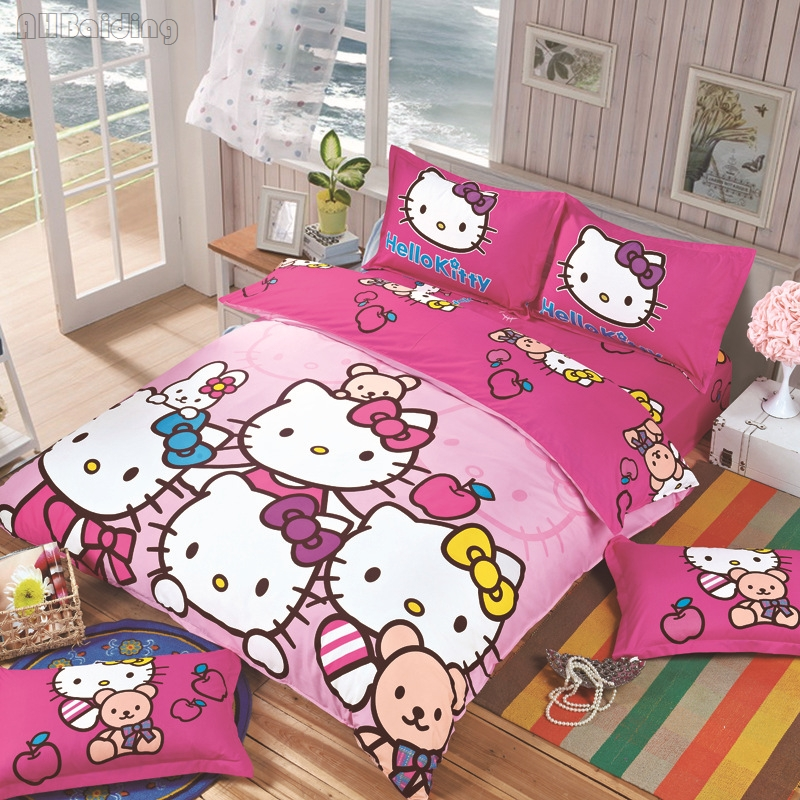 Cartoon Bedding Set for Children Gift Kid Stitch Pikachu Doraemon Hello Kitty Printing Duvet Cover Set with Bed Sheet Pillowcase