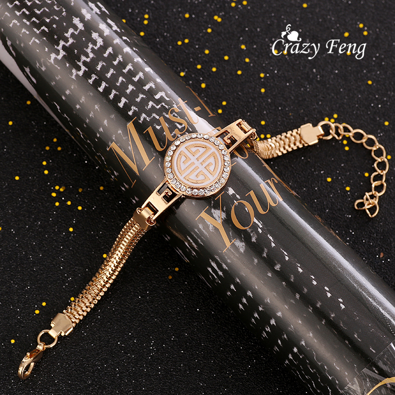 Браслет золото-цвет браслет-цепочка для Для женщин круглый полый кристалл Braclets браслеты Модные украшения регулируемая