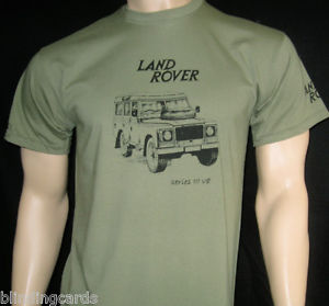 LAND ROVER Series III V8 T-SHIRT - Olive Green or Khaki