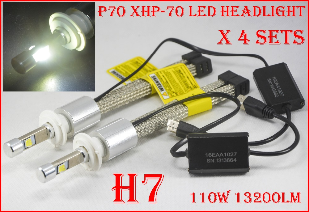 DHL 4 Sets H4 H7 H8 H9 H11 9005 9006 9012 H13 9004 9007 P70 LED Headlight 110W 13200LM Fanless XHP-70 Chips 5K 6K Car Lamp Bulb 2017 newest 9012 fanless led headlight conversion kit 6500k 6600lm c ree xhp 70 50w bulb h4 h7 h11 9005 9006 h13 9007 9004