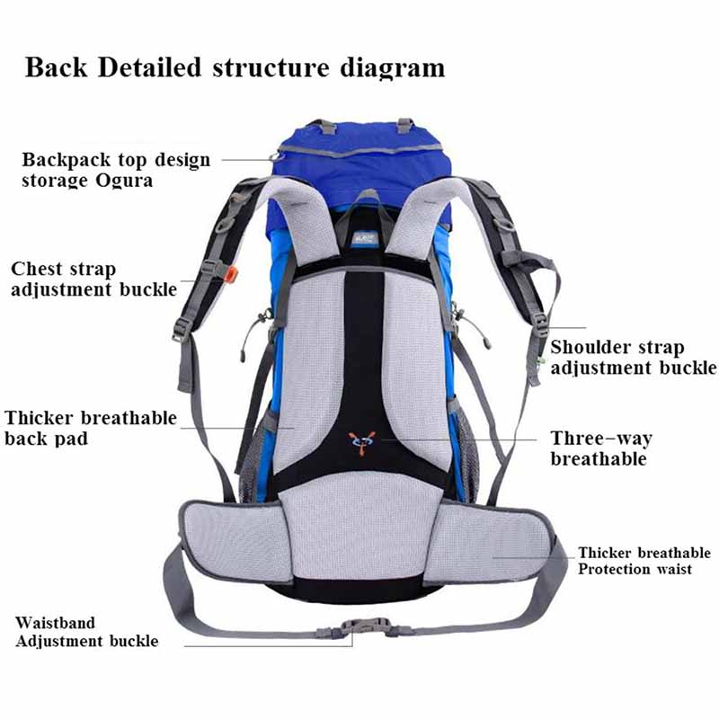 Waterproof Camping Rucksack Internal Frame Hiking Backpack Large ...