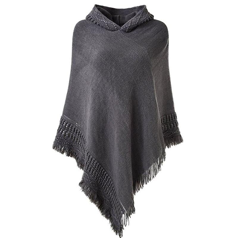 Casual donna maglione poncho con cappuccio e maglione lavorato a maglia pullover nappa maglione solido donne poncho e sciarpa cappotto caldo