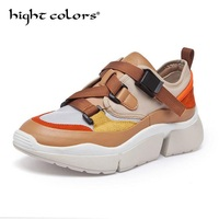 Women Vulcanize Shoes 2019 New Fashion Leather +Canvas Color Matching Student Flat Casual Shoes High top Sneakers Ladies Shoes