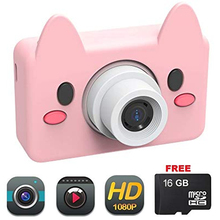лучшая цена Camera lens for Kids Toy Pig Camera HD 8MP Video Digital Camera Camcorder for Girls and Boys Includes 16gb microSD Card