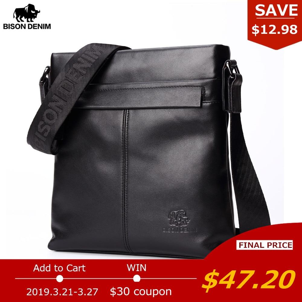 Бизон джинсовый бренд Для мужчин сумка натуральная кожа 10,5 Ipad Черный сумка через плечо из воловьей кожи для Для мужчин Повседневное Курьер...