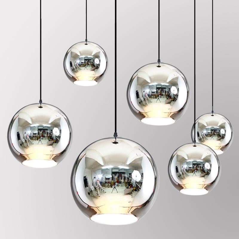 LukLoy Modern Dixon Style Mirror Glass Ball Pendant Lights Copper Color Globe Lamp Pendant Light Modern Lighting Fixtures 1piece