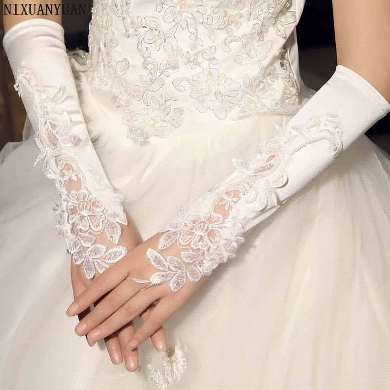Wholesale In Stock Appliques Beading Wedding Glove Gants Mariage Woman Lace White Fingerless New Bride Gloves 2019