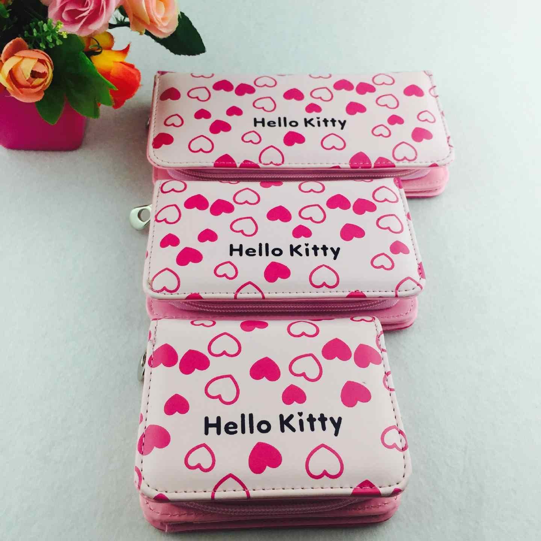 لطيف الكرتون مرحبا كيتي العلامة التجارية الشهيرة مصمم محفظة المرأة محافظ جلدية للبنات مخلب محفظة سيدة حامل بطاقة المحفظة الطرف