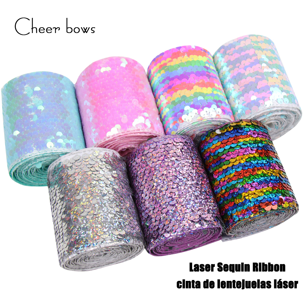 Cheer Bows 75mm Sequin Grosgrain Ribbon Laser Double Face Reversible Shiny Glitter Ribbon DIY Handmade Hairbows Accessories 2y