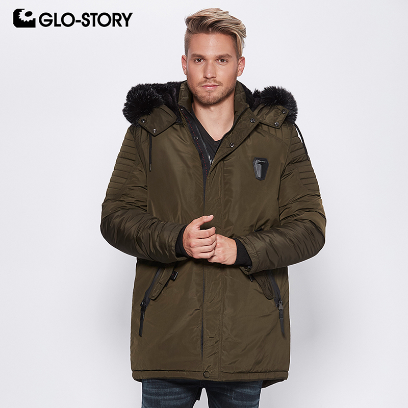 744ab9b48 GLO STORY 2018 Fashion Winter Jackets For Men Parka with Fur Hooded ...