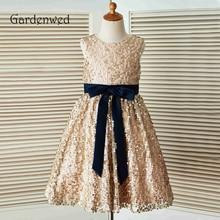 Gardenwed 2019 Champagne Sequin Flower Girl Dresses For Weddings Birthday First Communion Navy Blue Sash