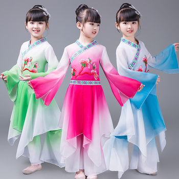 Chinese Modern Classical Fan Dance Dress Chinese Folk Stage Dance Clothing 3 Color Children's Traditional Yangko Dance Costume chinese paper card cmyk color card traditional colors rgb guide manual newbie chinese traditional distinguish colors names