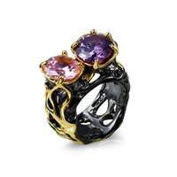Lujo fine Anillos para las mujeres negro oro color rosa/púrpura piedra grande AAA cúbicos ZIRCON partido anillo último diseño joyería de moda