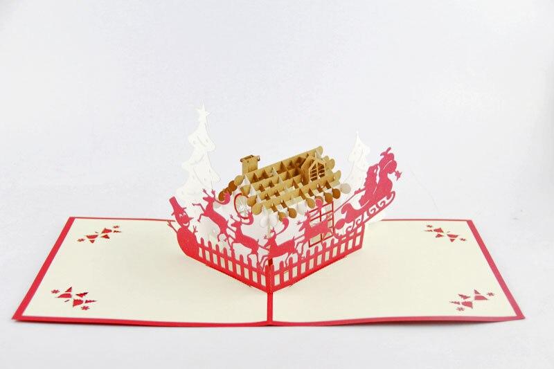 comprar ciervos y casa tarjeta de navidadd kirigami de felicitacin hechas a mano de regalo para los hombres envo