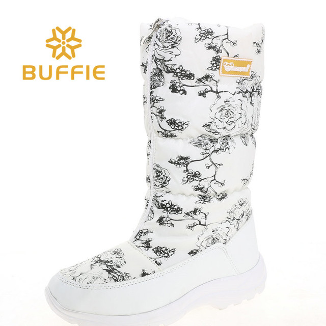 ac7d649f1 US $25.5 45% OFF|White high women boots female white flower shoes zipper up  black boots rubber outsole warm fur big feet plus size brand style -in ...