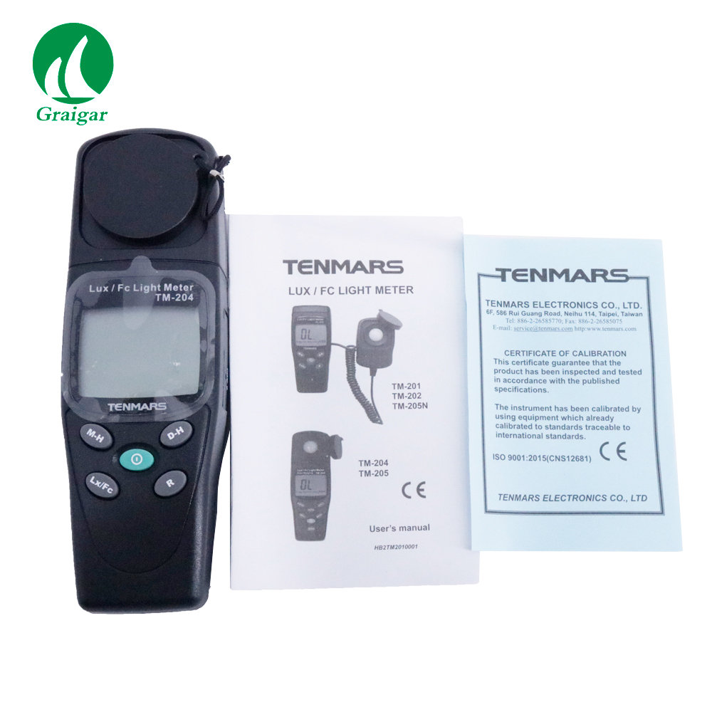 High Precision Digital Light Meter TM-204 with 3 1/2 Digits LCD with Maximum Reading 2000