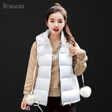 Brieuces 2018 new autumn winter vest women waistcoat thickening hooded solid cotton female slim thin pocket warm coat