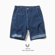 Jeans male white line trousers white shorts brief street denim shorts