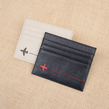 Hot 2016 New Brand Fashion Plane Design Men's Card ID Holder Case High Quality Real Cowhide Leather Coin Pocket Bag for Women
