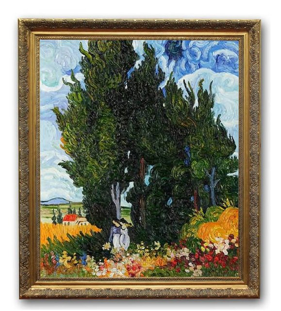 6054 wooden oil painting frames the cypresses van gogh art 20x24 - Wholesale Art And Frames