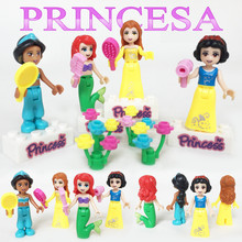 8pcs/lot Princess Snow White Cinderella Mermaid Elsa Small Action Figures Friends Compatible LegoINL Building Block Figures Toys overtopping toys shou wu cu poche friends fairy tale small red hat q edition action