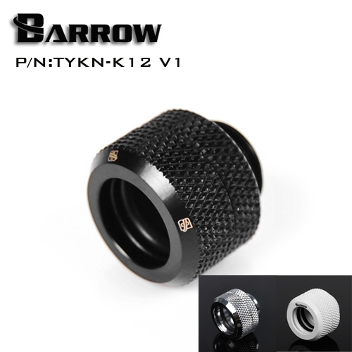 Barrow Black Silver OD12mm Hard tube fitting hand compression fitting G1/4'' OD12mm hard pipe TYKN-K12 V1 barrow g1 4 x 2 double head hard tube 90 d multi link adapter 12mm 14mm black silver white gold twt90kns k12 twt90kns k14