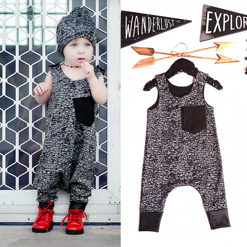 Rompers Toddler Kids Baby Girl Boy 2016 New Summer Cotton Dark Gray Sleeveless Jumpsuit Outfits Brand Costume Fashion Boys 1-6Y baby rompers one piece newborn toddler outfits baby boys clothes little girl jumpsuit kids costume baby clothing roupas infantil