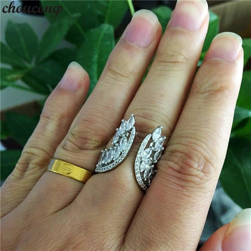 Choucong Liebhaber Engel flügel Ring 925 sterling Silber AAAAA Zirkon cz Engagement Hochzeit Band Ringe Für Frauen Partei Schmuck Geschenk