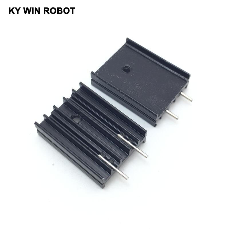 10pcs 19x8x25MM Black Aluminium TO-220 Heatsink TO220 Heat Sink Transistor Radiator TO220 Cooler Cooling 25*8*19MM With 2pin
