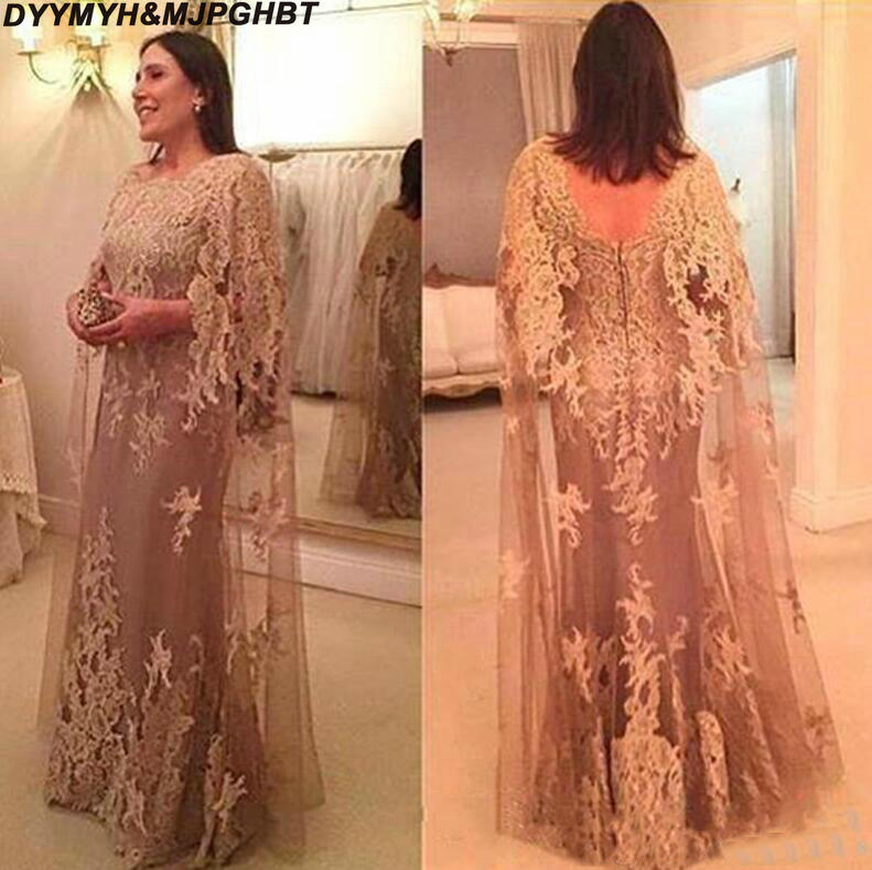 2019 New Vintage Applique Lace Mother Of The Bride Dresses With Cape Evening Wear Floor Length Wedding Guest Dress