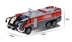 Image 4 - 1:50 İtfaiye havalimanı itfaiye kamyonu model alaşım araba oyuncak modeli geri çekin ses ışık oyuncak çocuklar için hediyeler ücretsiz kargo